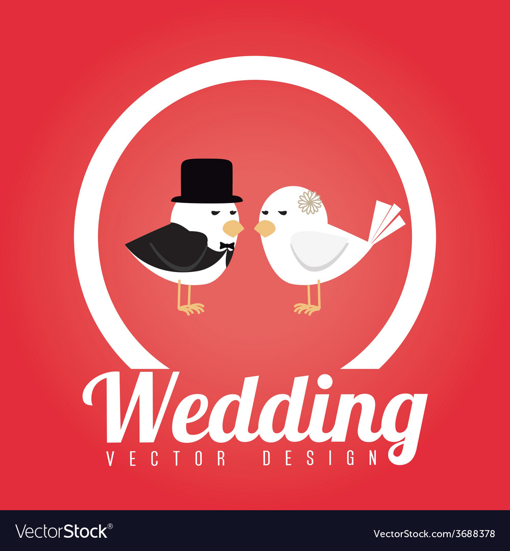 Wedding design over red background vector | Price: 1 Credit (USD $1)
