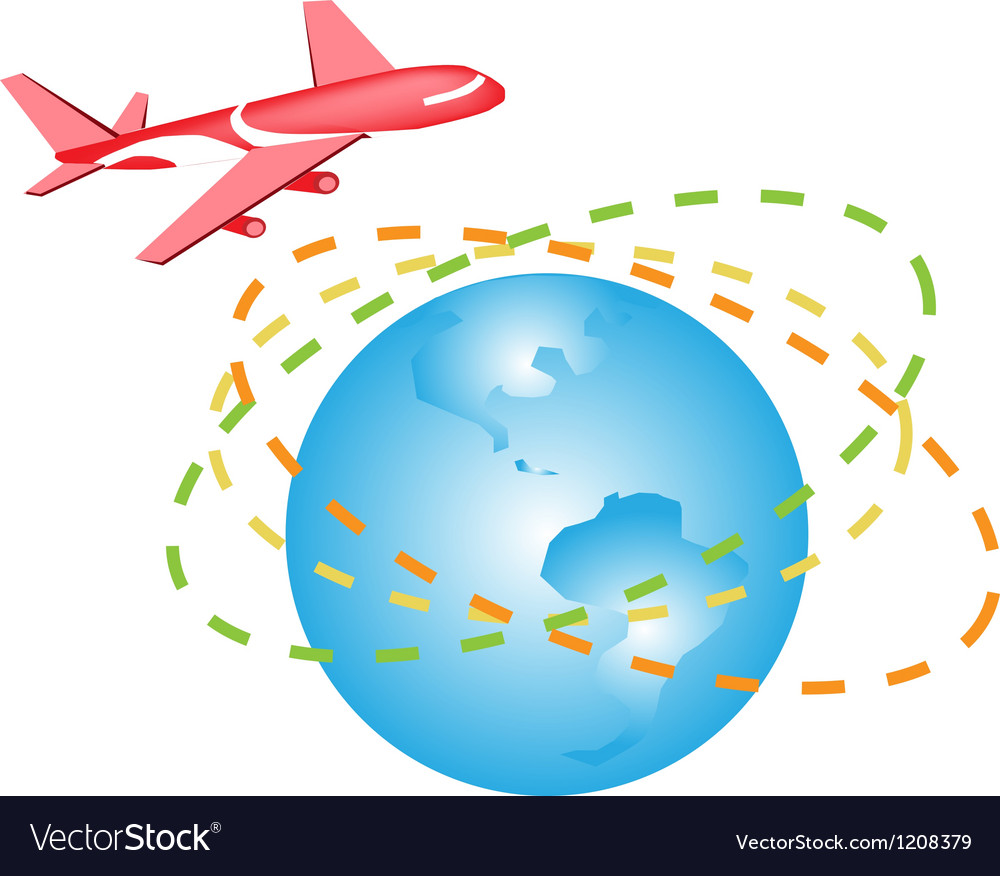 A plane flying around the world vector | Price: 1 Credit (USD $1)