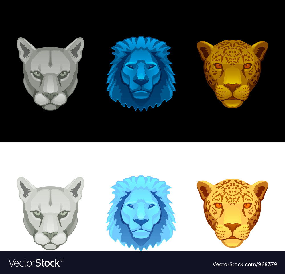 Big cat set-lion puma jaguar vector | Price: 1 Credit (USD $1)