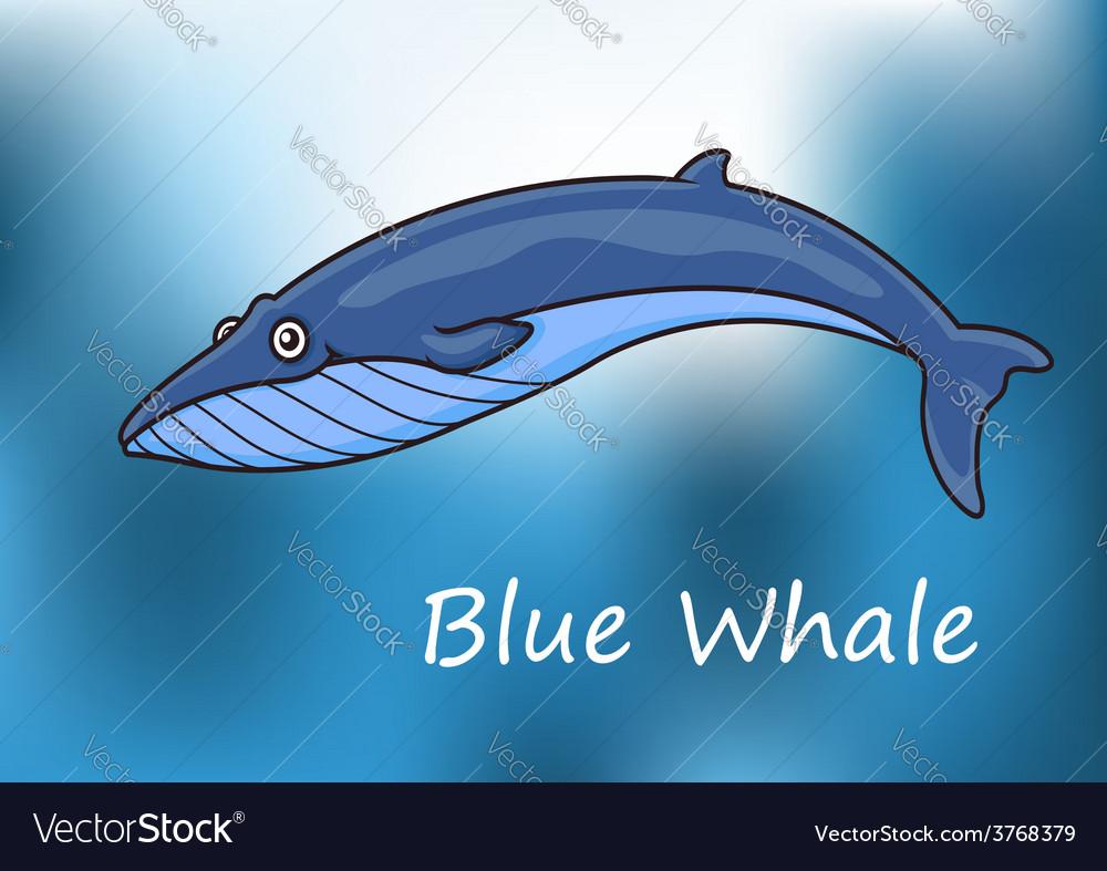Cartoon blue whale swimming underwater vector | Price: 1 Credit (USD $1)