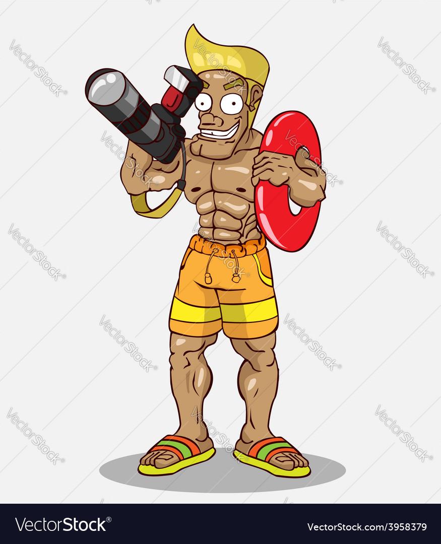 Cartoon character happy photographer vector   Price: 3 Credit (USD $3)