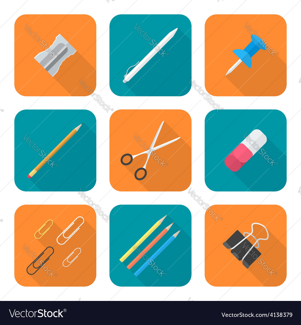 Colored flat style various stationery icons set vector