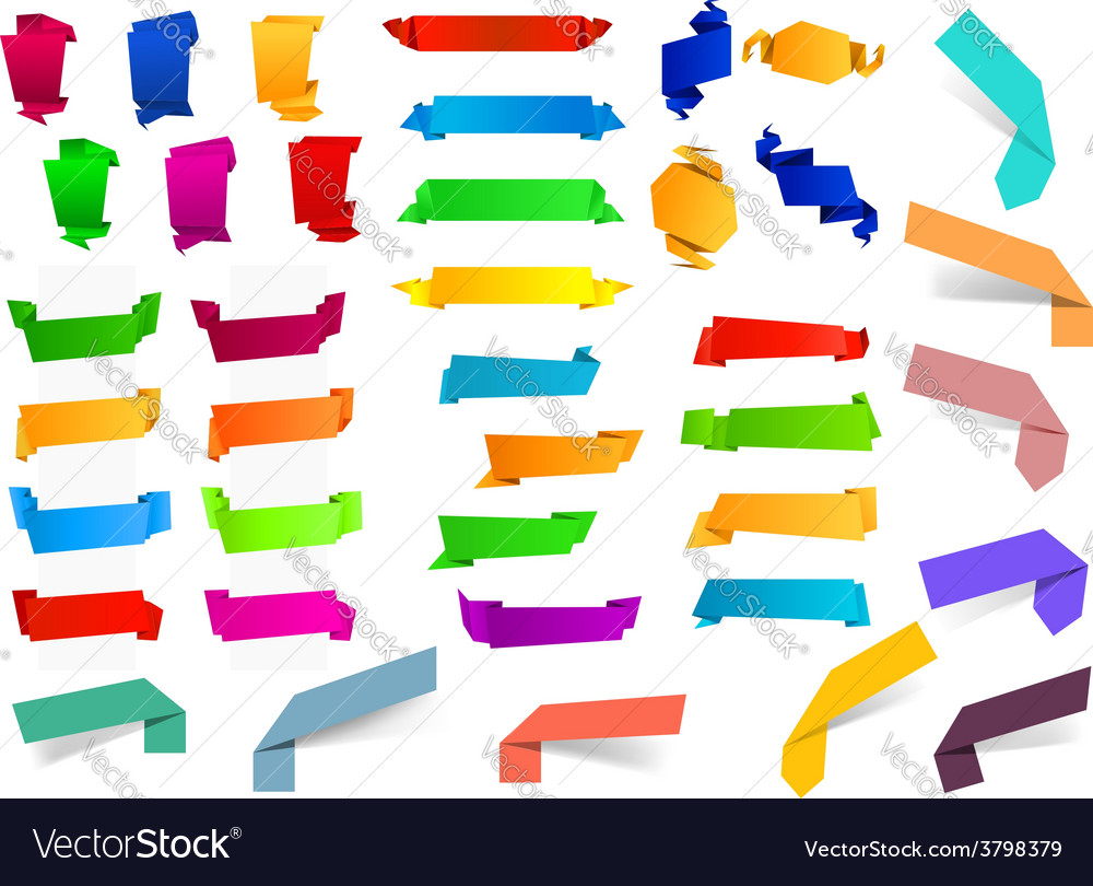 Colorful blank origami ribbons and banners vector | Price: 1 Credit (USD $1)