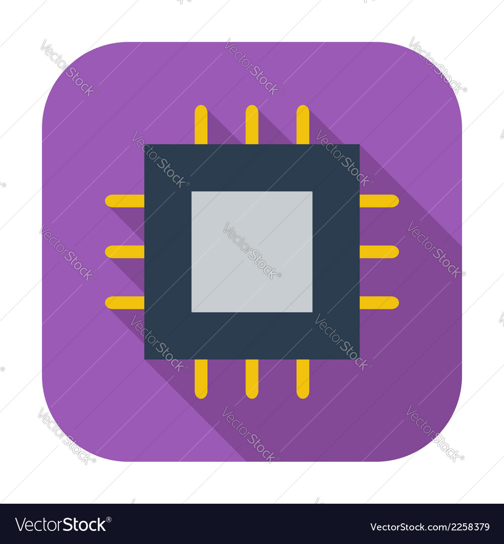 Electronic chip flat icon 2 vector | Price: 1 Credit (USD $1)