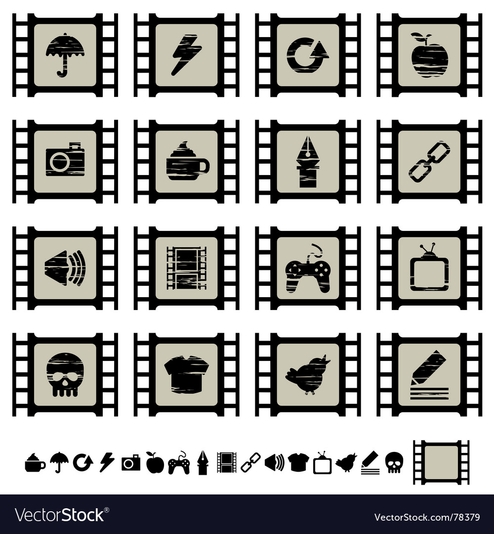 Film cell icons vector | Price: 1 Credit (USD $1)