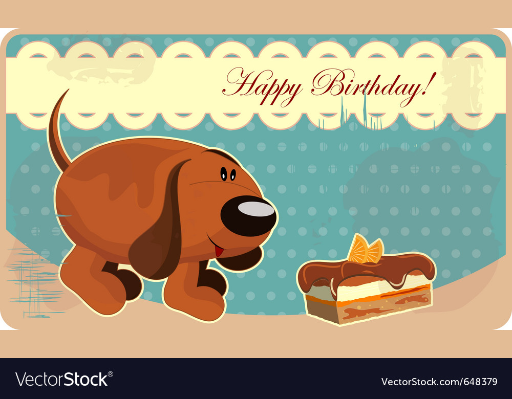 Greeting card with a funny dog and cake in vintage vector | Price: 1 Credit (USD $1)