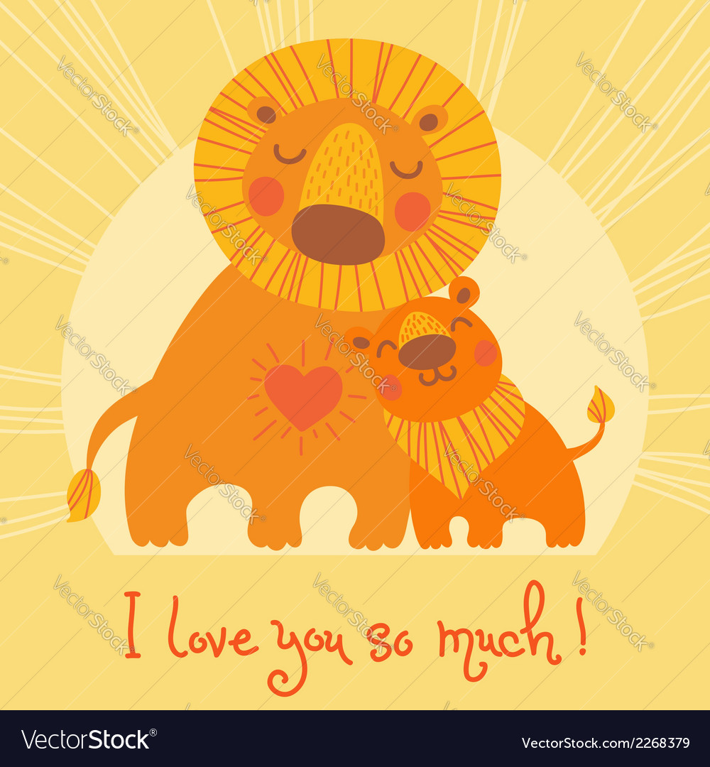 Happy fathers day card cute lion and cub vector | Price: 1 Credit (USD $1)