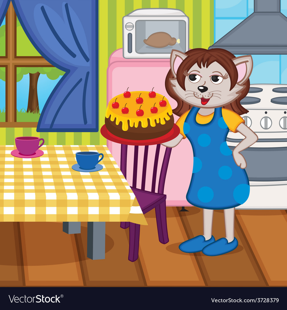Mother cat baked cake in kitchen vector | Price: 3 Credit (USD $3)