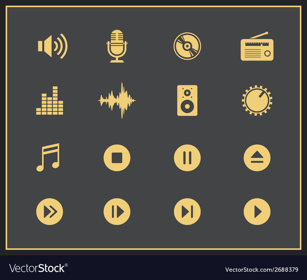 Music and sound icons vector | Price: 1 Credit (USD $1)