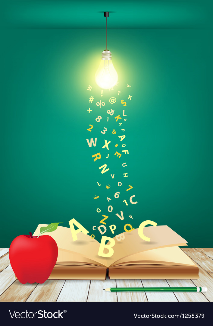Open book with light bulb and falling letters vector | Price: 1 Credit (USD $1)