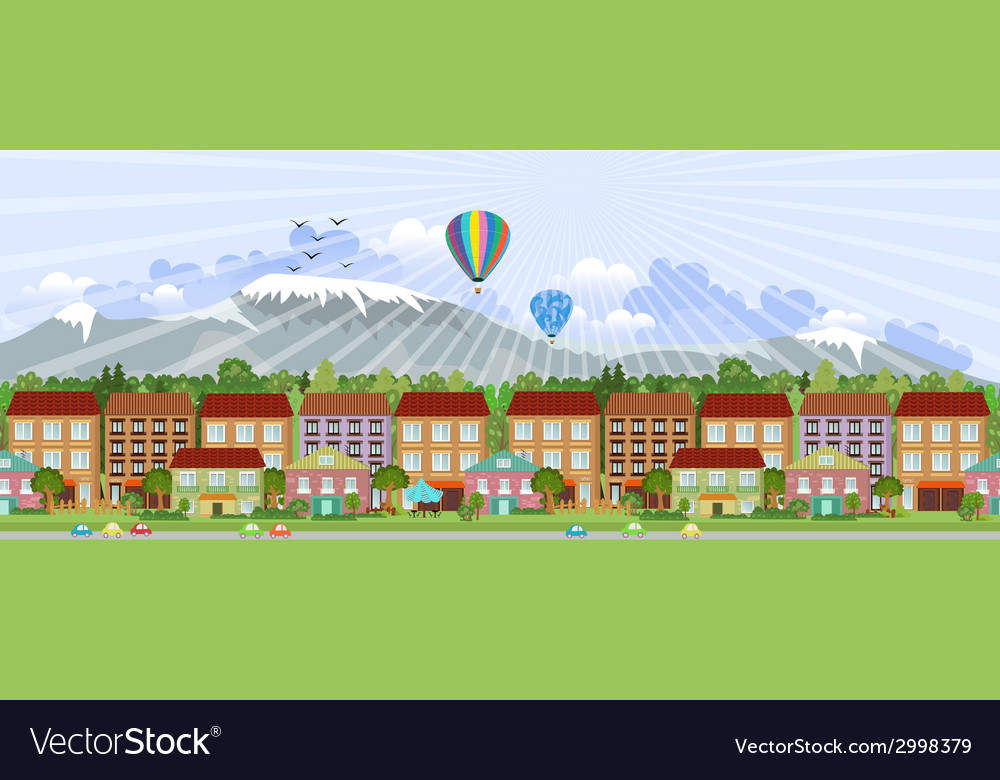 Panorama summer city life vector | Price: 1 Credit (USD $1)
