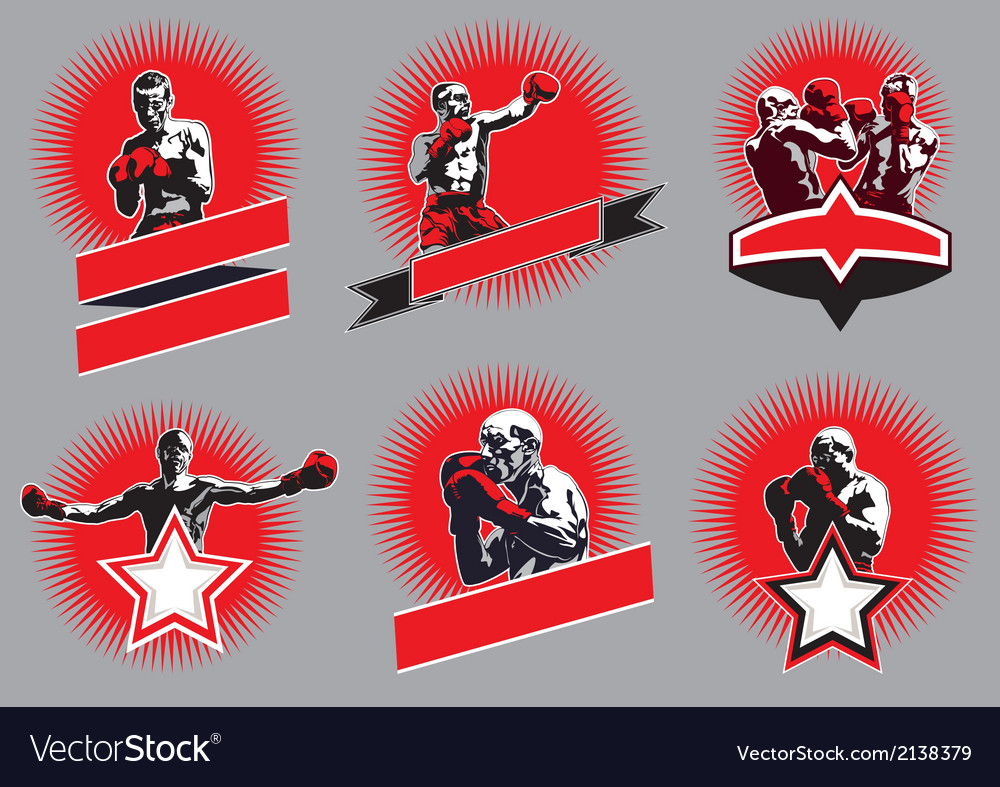 Set of circular combative sport icons or emblems vector | Price: 1 Credit (USD $1)