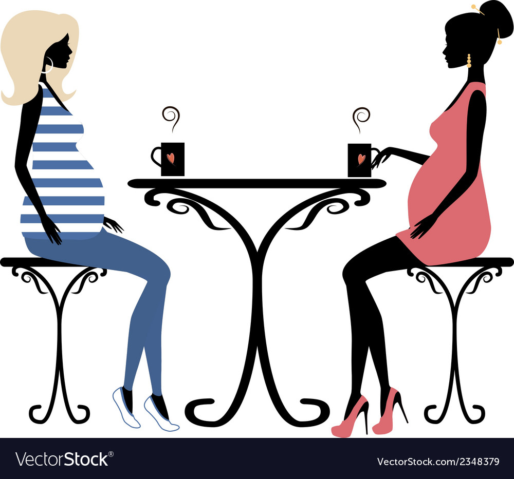 Silhouette of two fashionable pregnant women vector | Price: 1 Credit (USD $1)