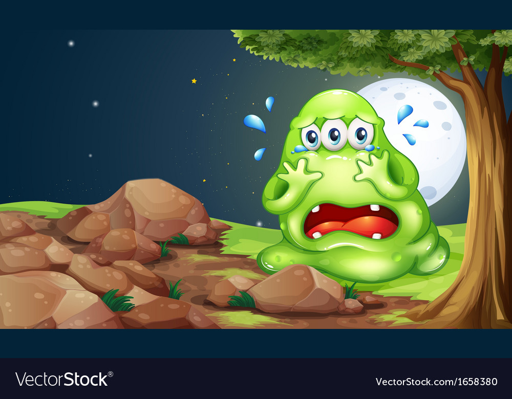A monster crying near the rocks vector | Price: 3 Credit (USD $3)