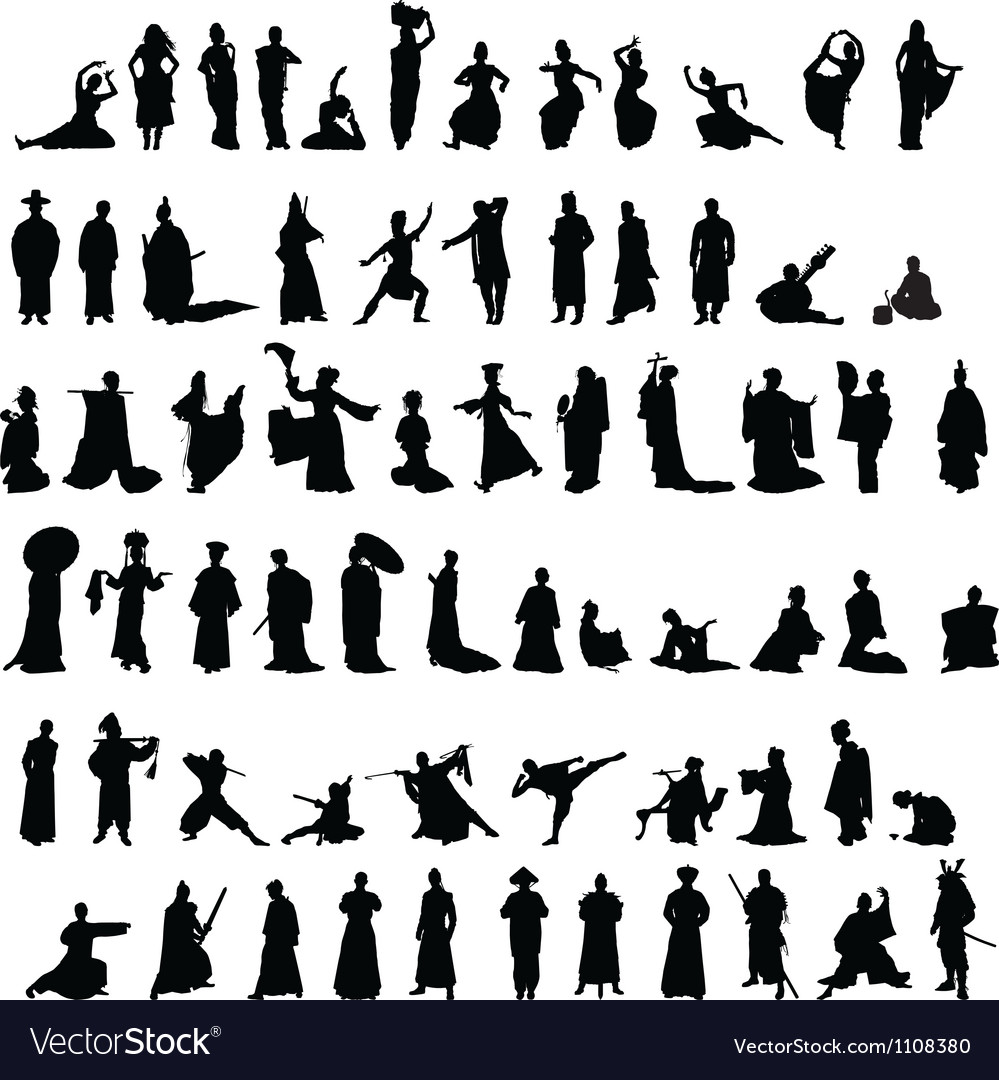 Asian silhouettes set vector | Price: 1 Credit (USD $1)