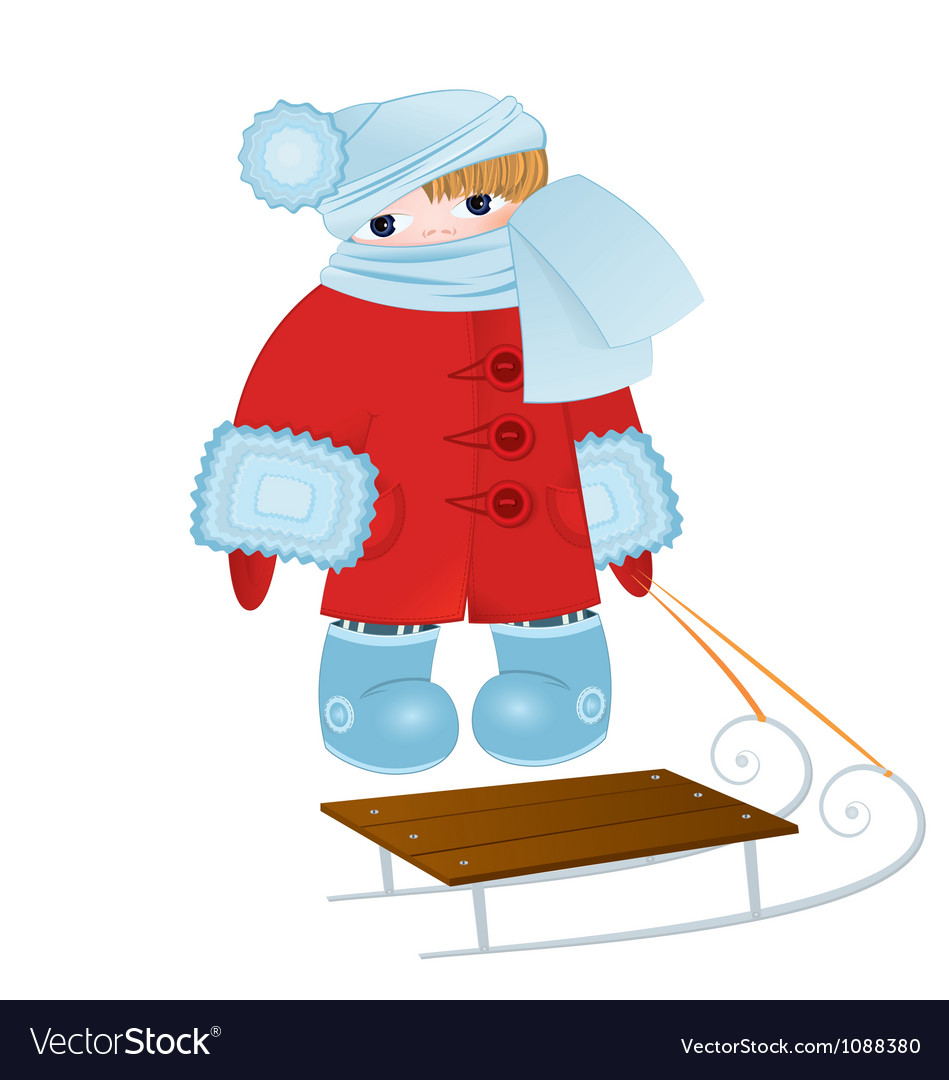 Cartoon kid with sled vector | Price: 1 Credit (USD $1)