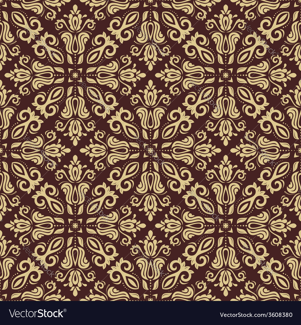 Damask seamless golden pattern orient background vector | Price: 1 Credit (USD $1)