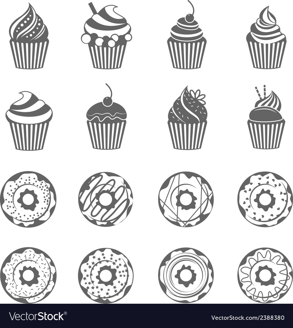 Donut cupcake icons vector | Price: 1 Credit (USD $1)