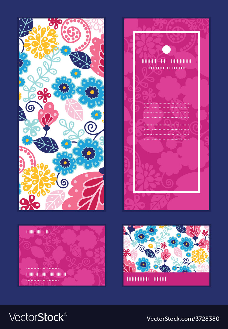 Fairytale flowers vertical frame pattern vector | Price: 1 Credit (USD $1)
