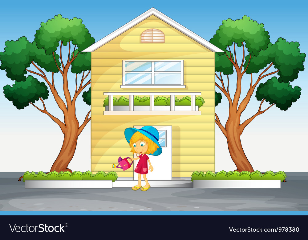 Girl watering plants vector | Price: 3 Credit (USD $3)