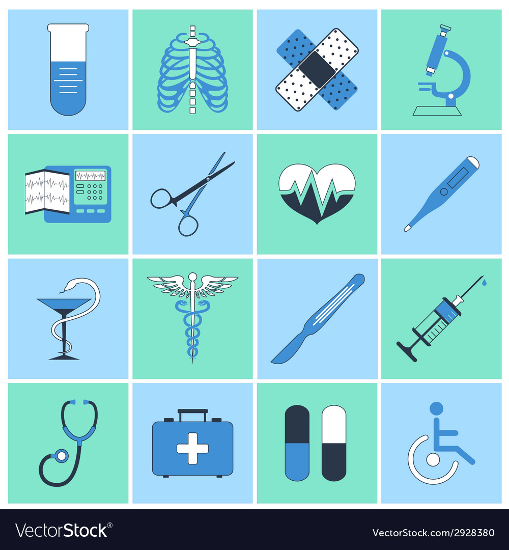 Medical icons flat line vector | Price: 1 Credit (USD $1)