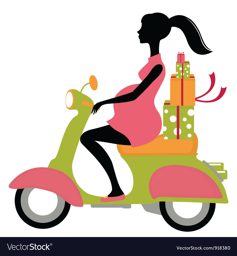 Pregnant woman scootering with gifts vector | Price: 1 Credit (USD $1)