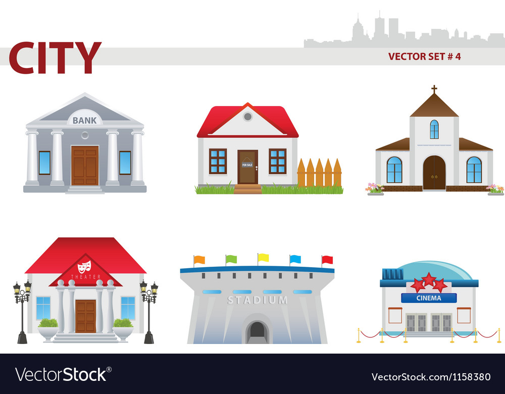 Public building set 4 vector | Price: 1 Credit (USD $1)