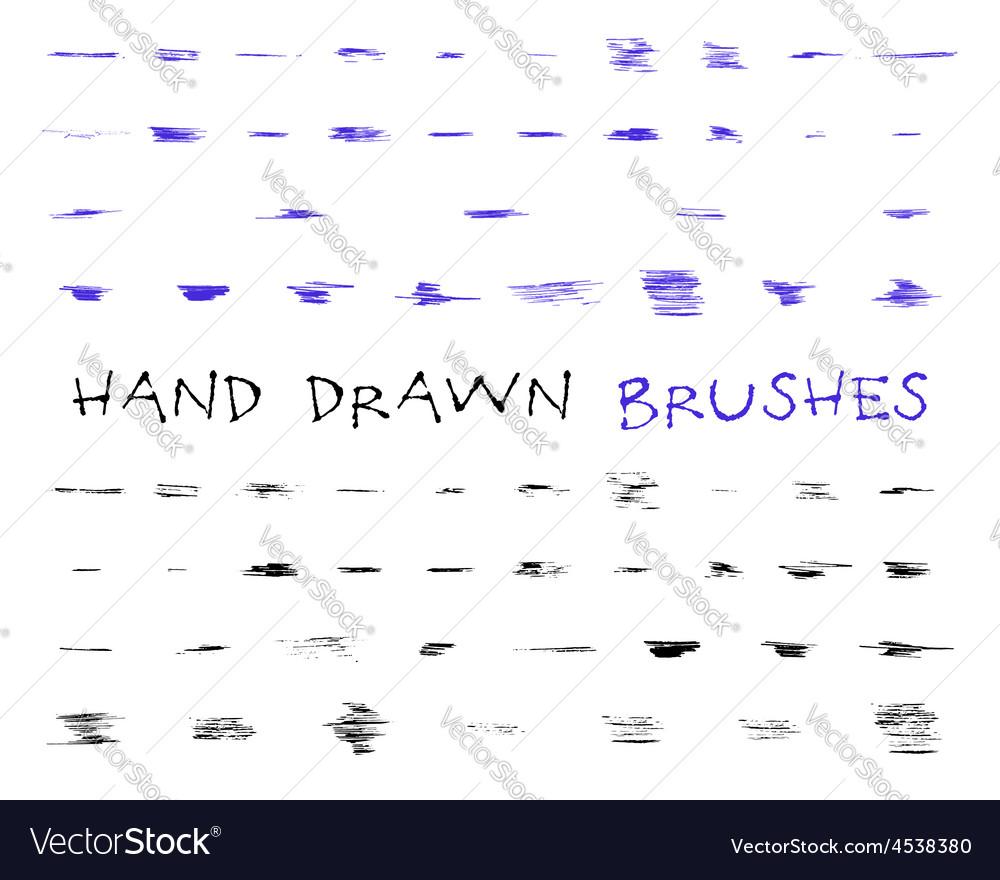 Set of hand drawndoodle sketched grunge brushes vector | Price: 1 Credit (USD $1)