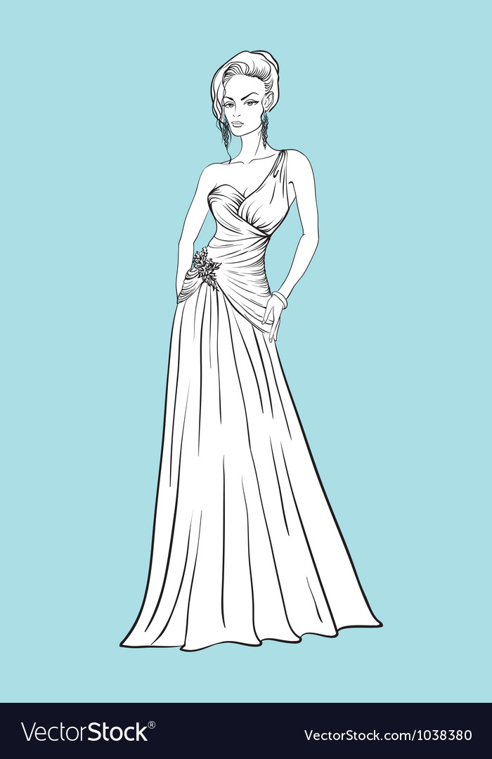 Young woman in a wedding dress vector | Price: 1 Credit (USD $1)