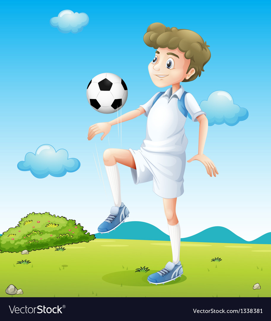 A boy playing soccer during daytime vector | Price: 1 Credit (USD $1)