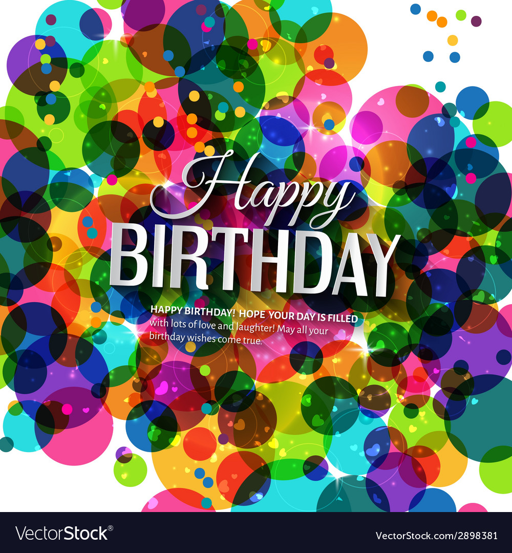 Birthday card in bright colors on polka dots vector | Price: 1 Credit (USD $1)