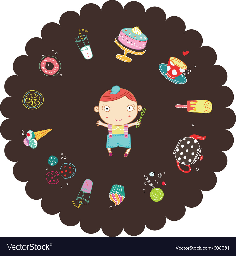 Boy with sweets vector | Price: 1 Credit (USD $1)