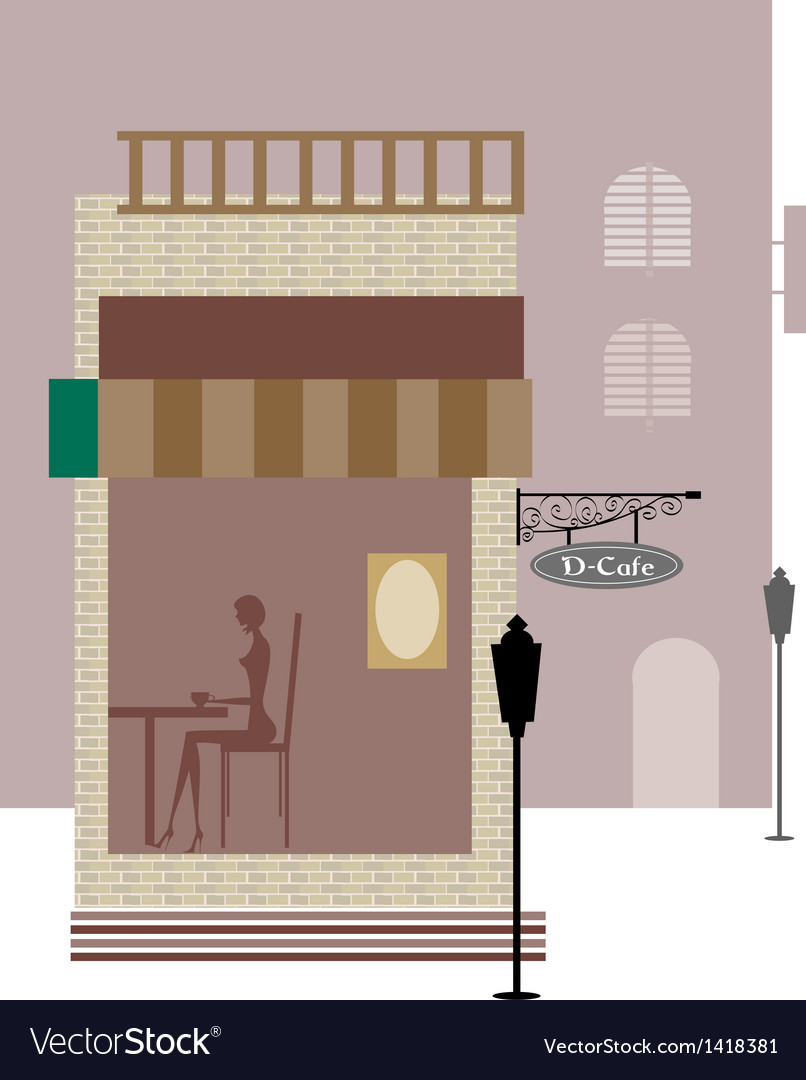 Cafe street view vector | Price: 1 Credit (USD $1)