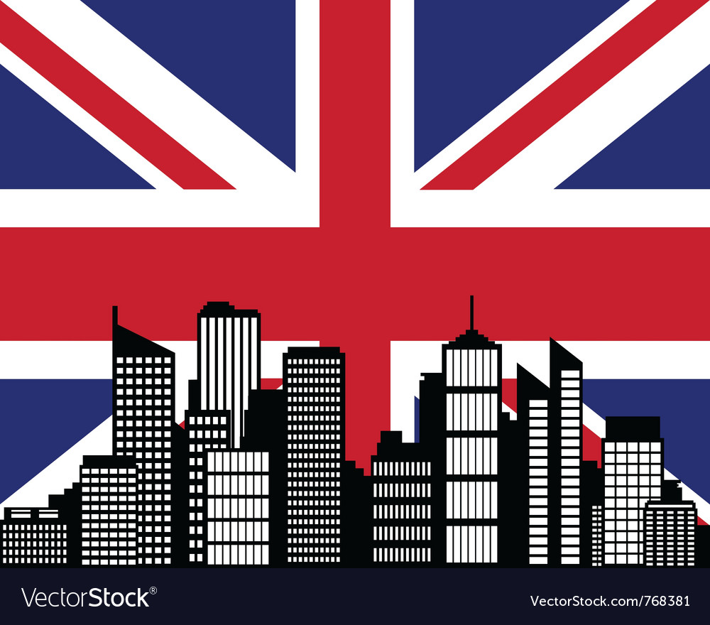 City and flag of great britain vector | Price: 1 Credit (USD $1)