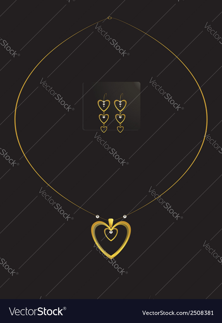 Elegant nested gold heart necklace set vector | Price: 1 Credit (USD $1)