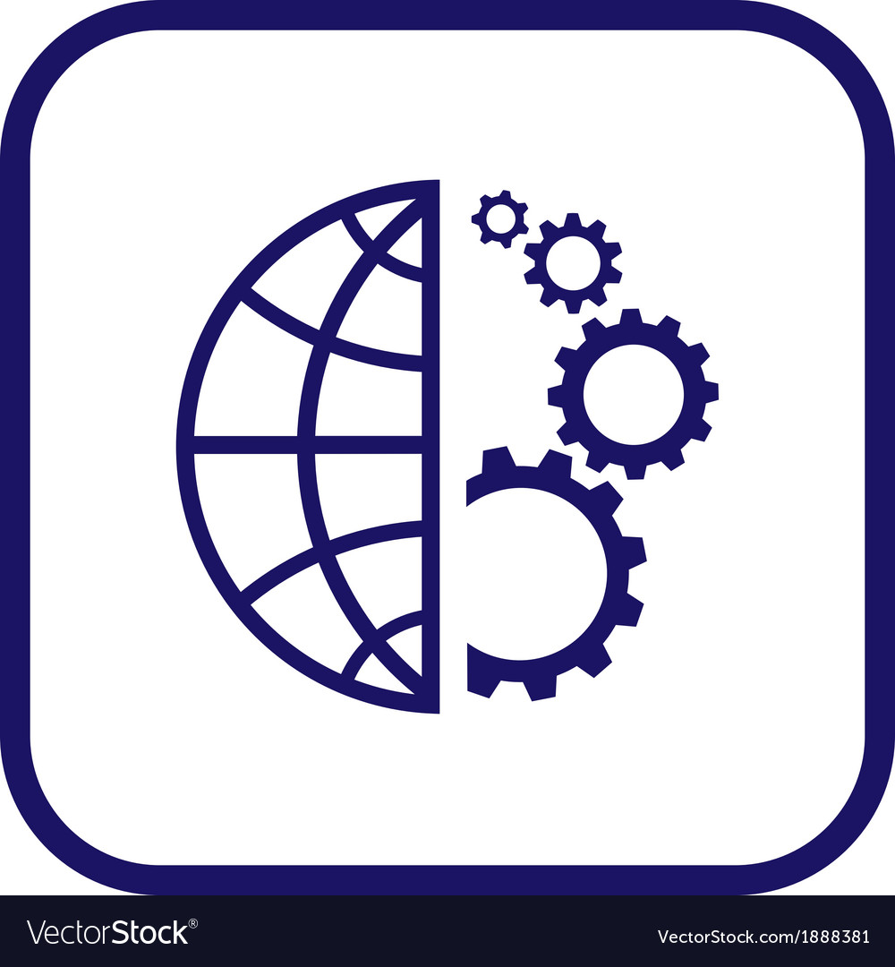 Globe and gear icon vector | Price: 1 Credit (USD $1)