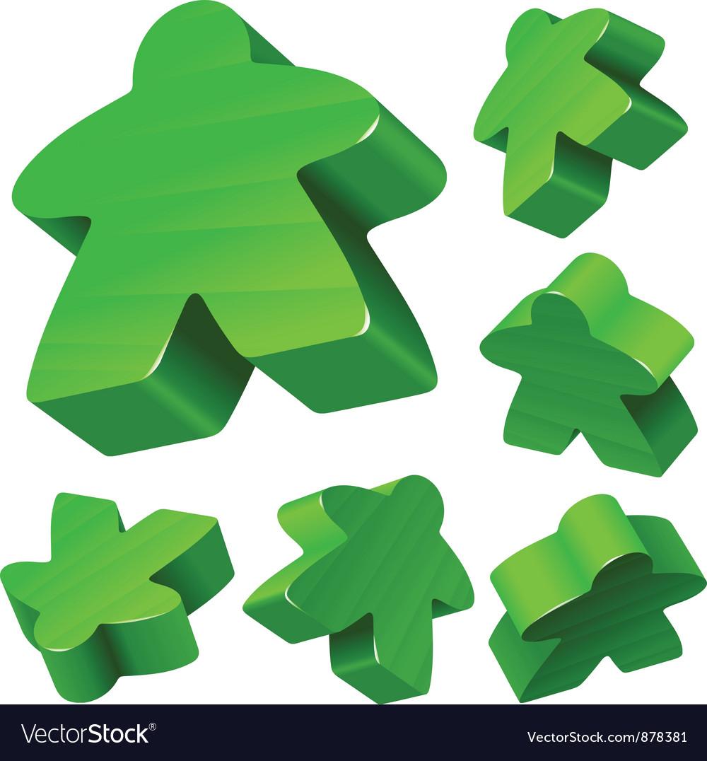 Green wooden meeple set vector | Price: 1 Credit (USD $1)