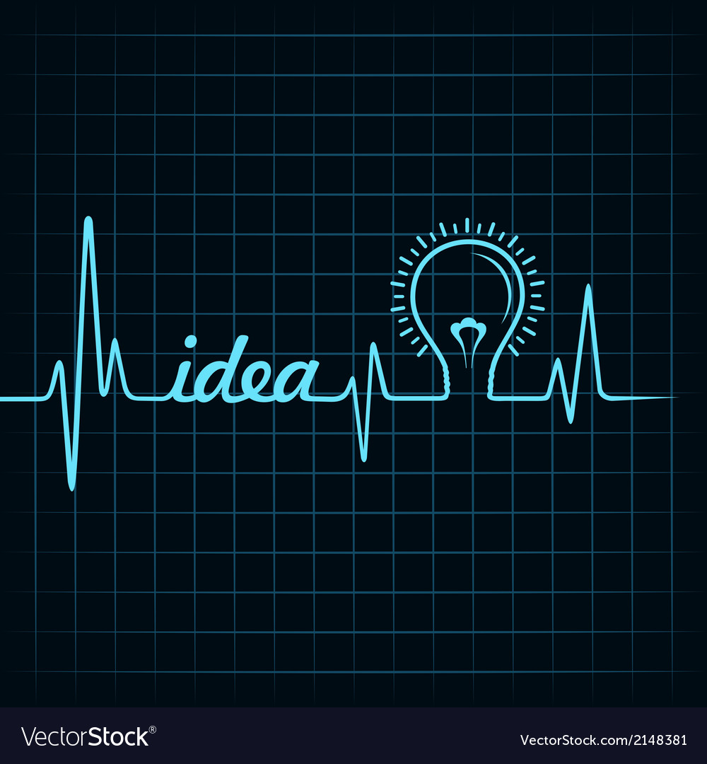 Heartbeat make idea word and light-bulb vector | Price: 1 Credit (USD $1)