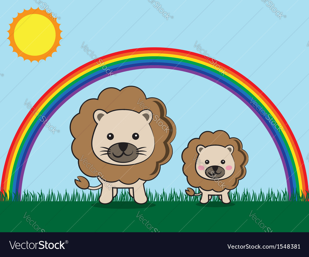 Lion and kid vector | Price: 1 Credit (USD $1)