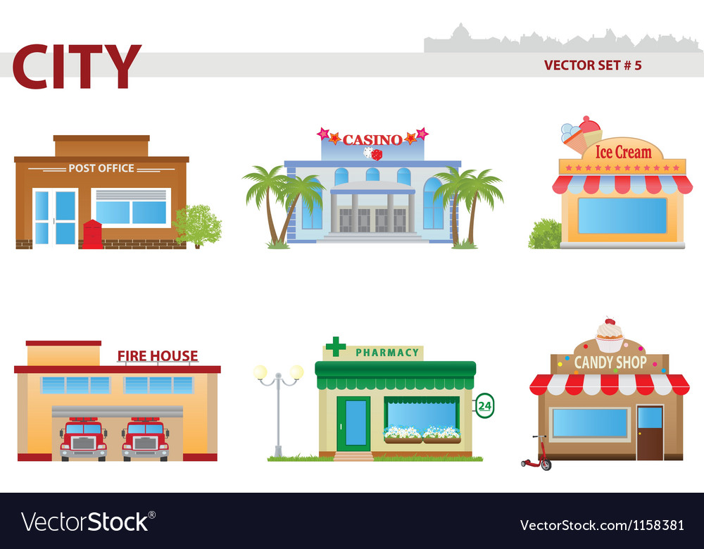 Public building set 5 vector | Price: 1 Credit (USD $1)