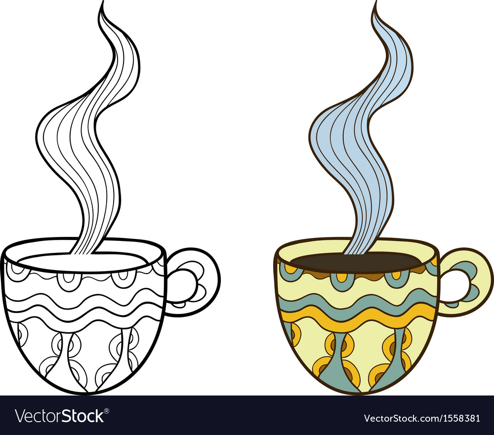 Set of two doodle coffee cups outline and coloful vector | Price: 1 Credit (USD $1)
