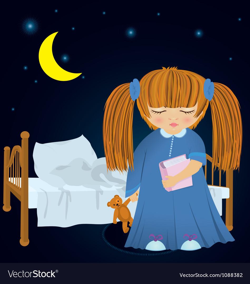 Cartoon sleepy girl near bed vector | Price: 1 Credit (USD $1)