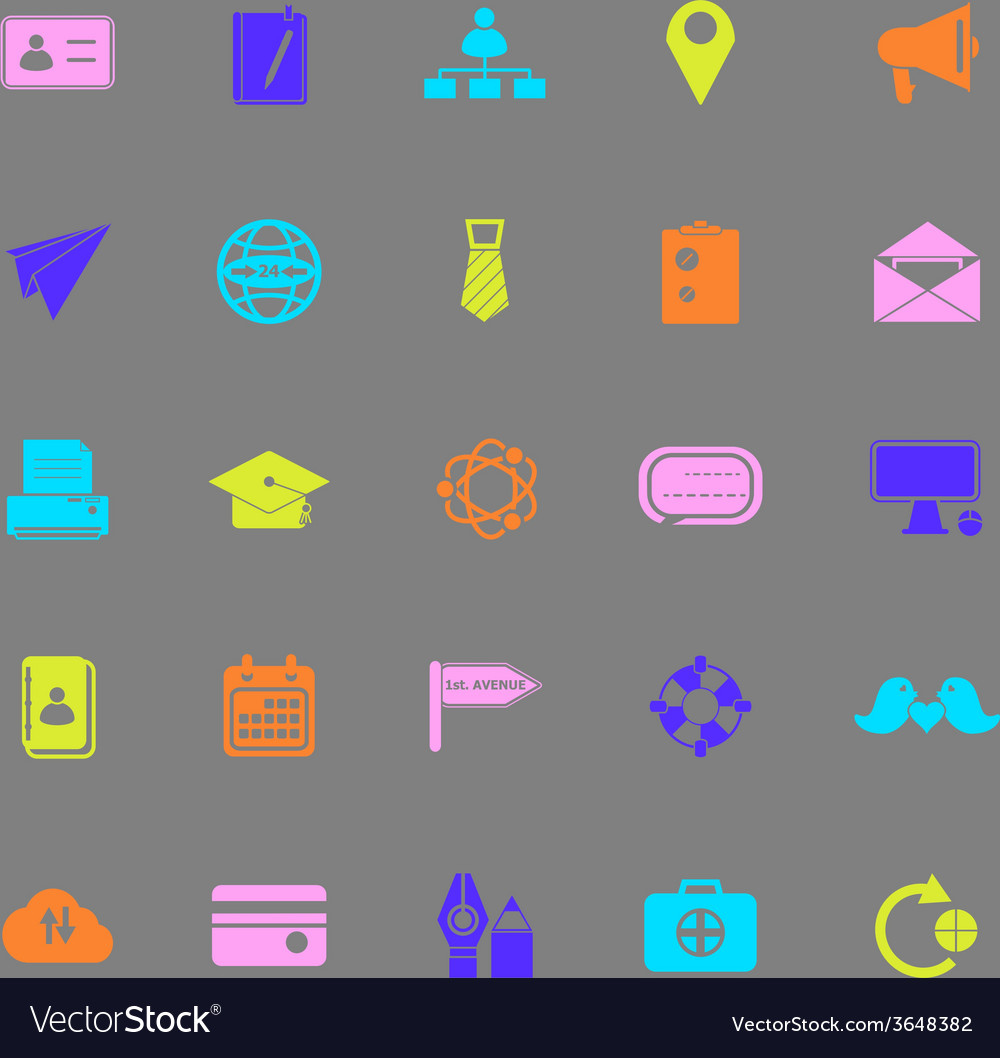 Contact connection color icons on gray background vector | Price: 1 Credit (USD $1)