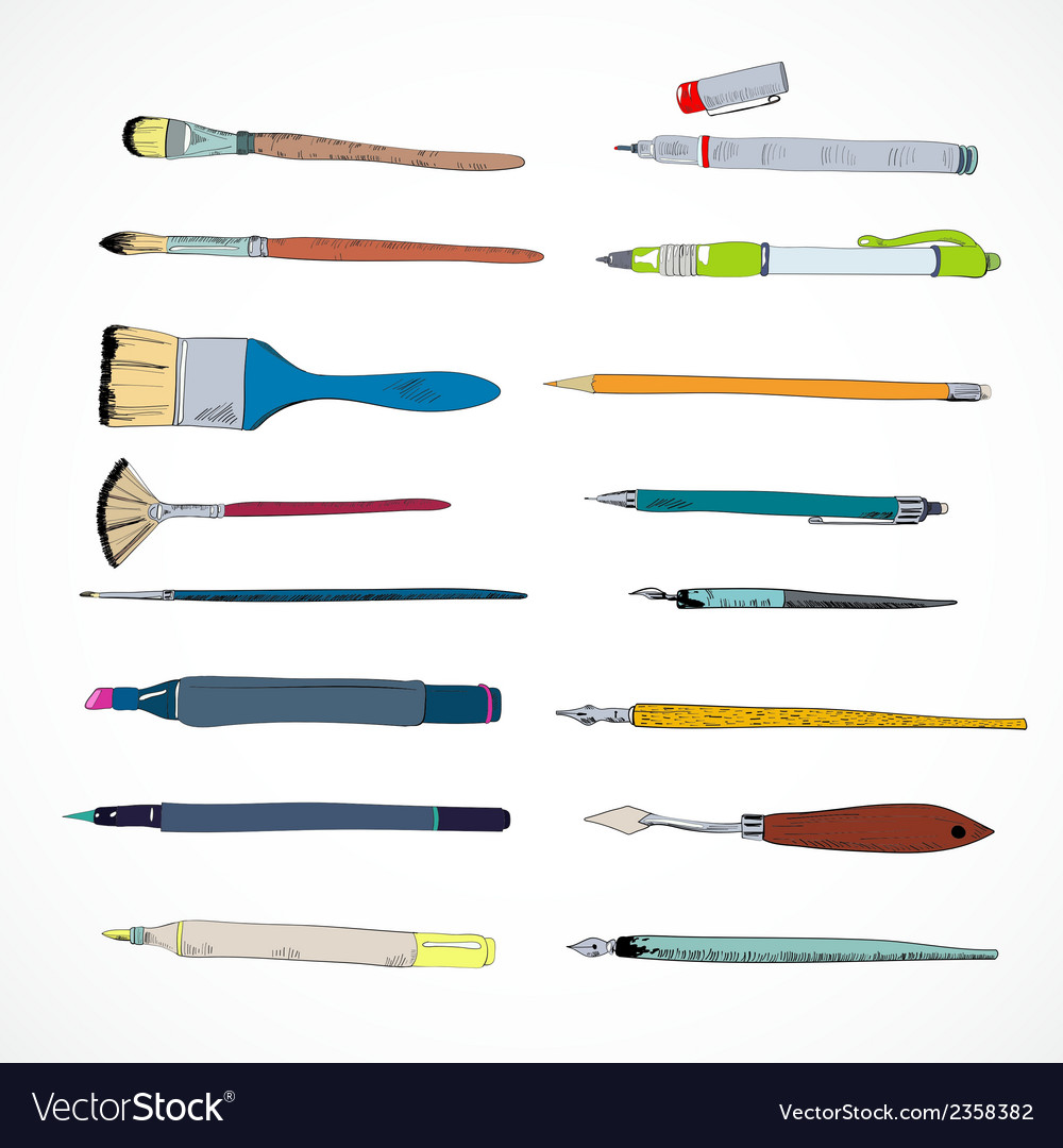 Drawing tools icons sketch vector | Price: 1 Credit (USD $1)