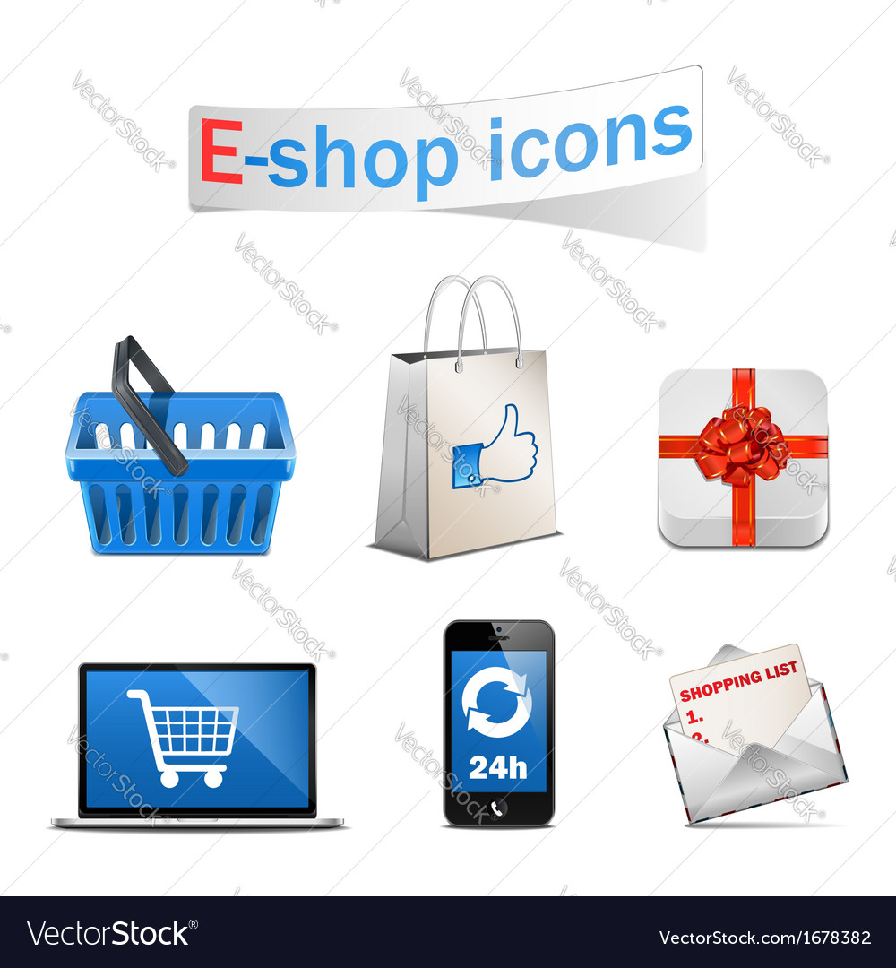 E shop icons vector | Price: 1 Credit (USD $1)