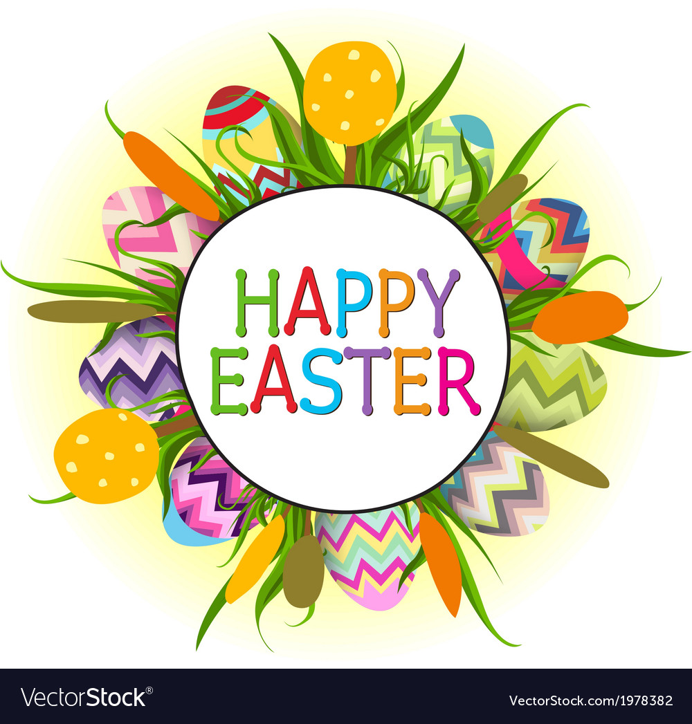 Easter eggs and happy easter vector | Price: 1 Credit (USD $1)