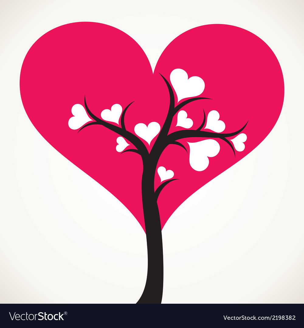 Lover tree with pink heart shape leaf vector | Price: 1 Credit (USD $1)
