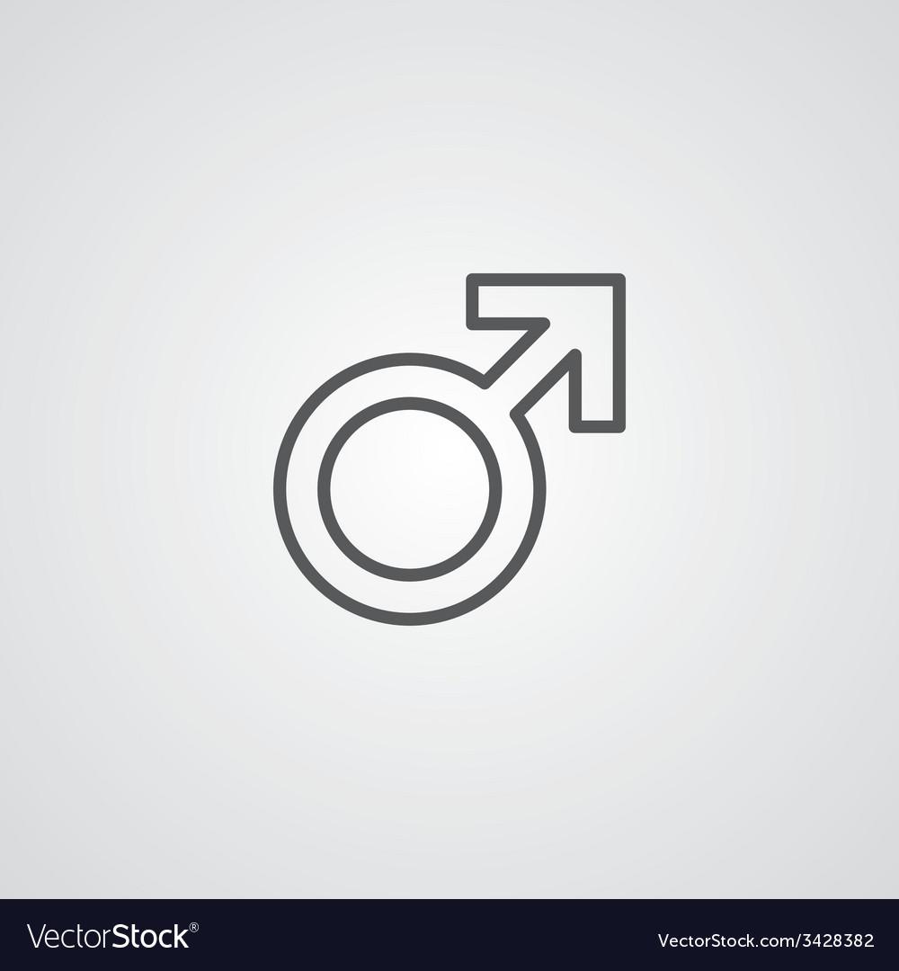Male symbol outline symbol dark on white vector | Price: 1 Credit (USD $1)