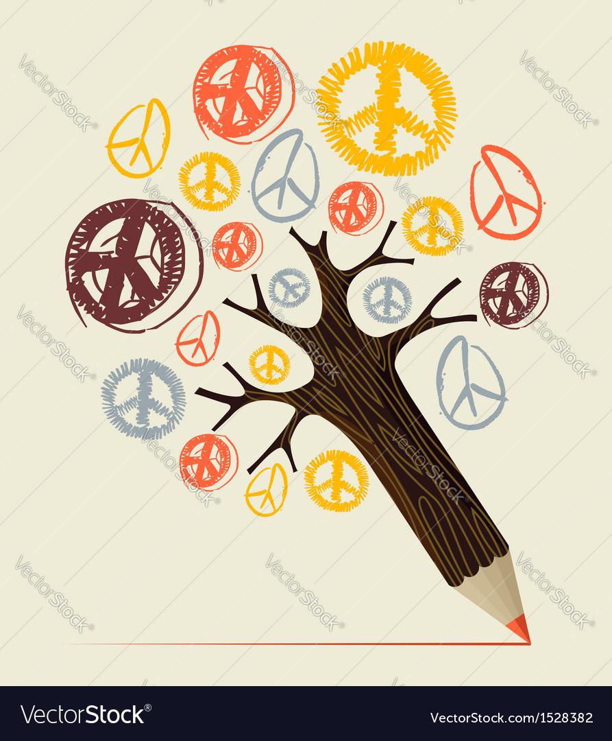 Peace icon tree pencil concept vector | Price: 1 Credit (USD $1)