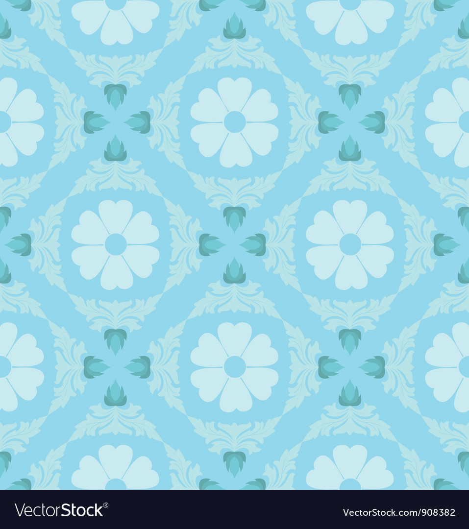 Retro floral pattern wallpaper vector | Price: 1 Credit (USD $1)
